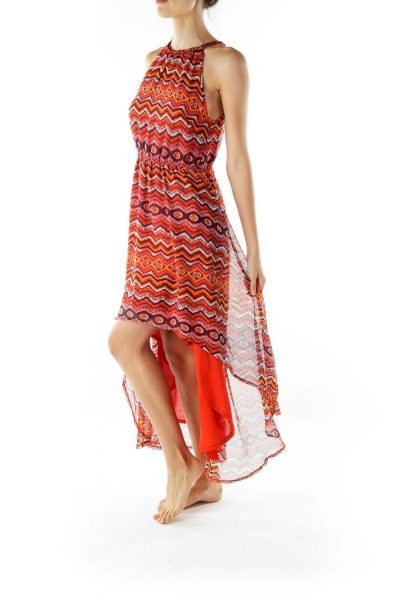 Red Print Sleeveless Day Dress
