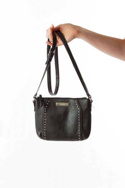 Black Studded Faux-Leather Messenger Bag