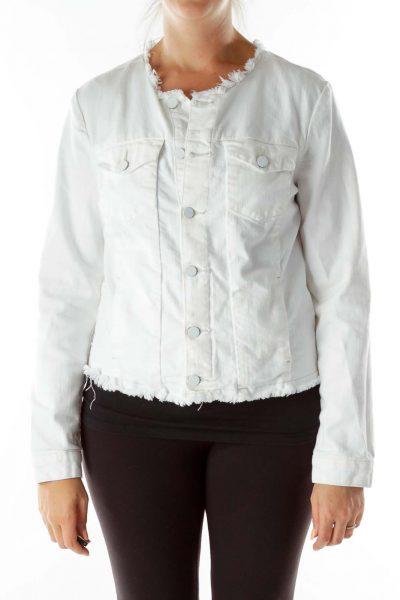 White Denim Frayed Jacket