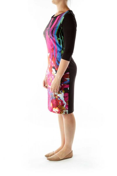 Black Multicolor Print Day Dress