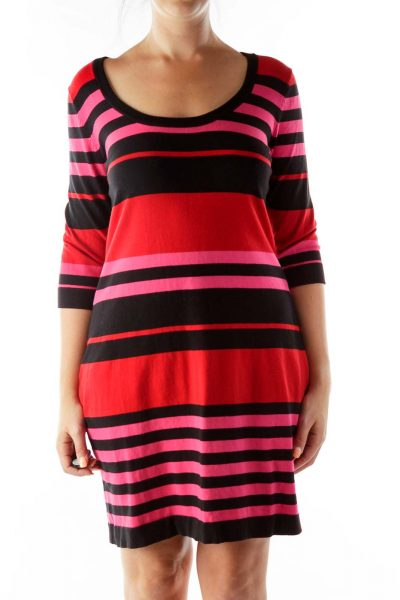 Black Pink Red Knit Striped Dress