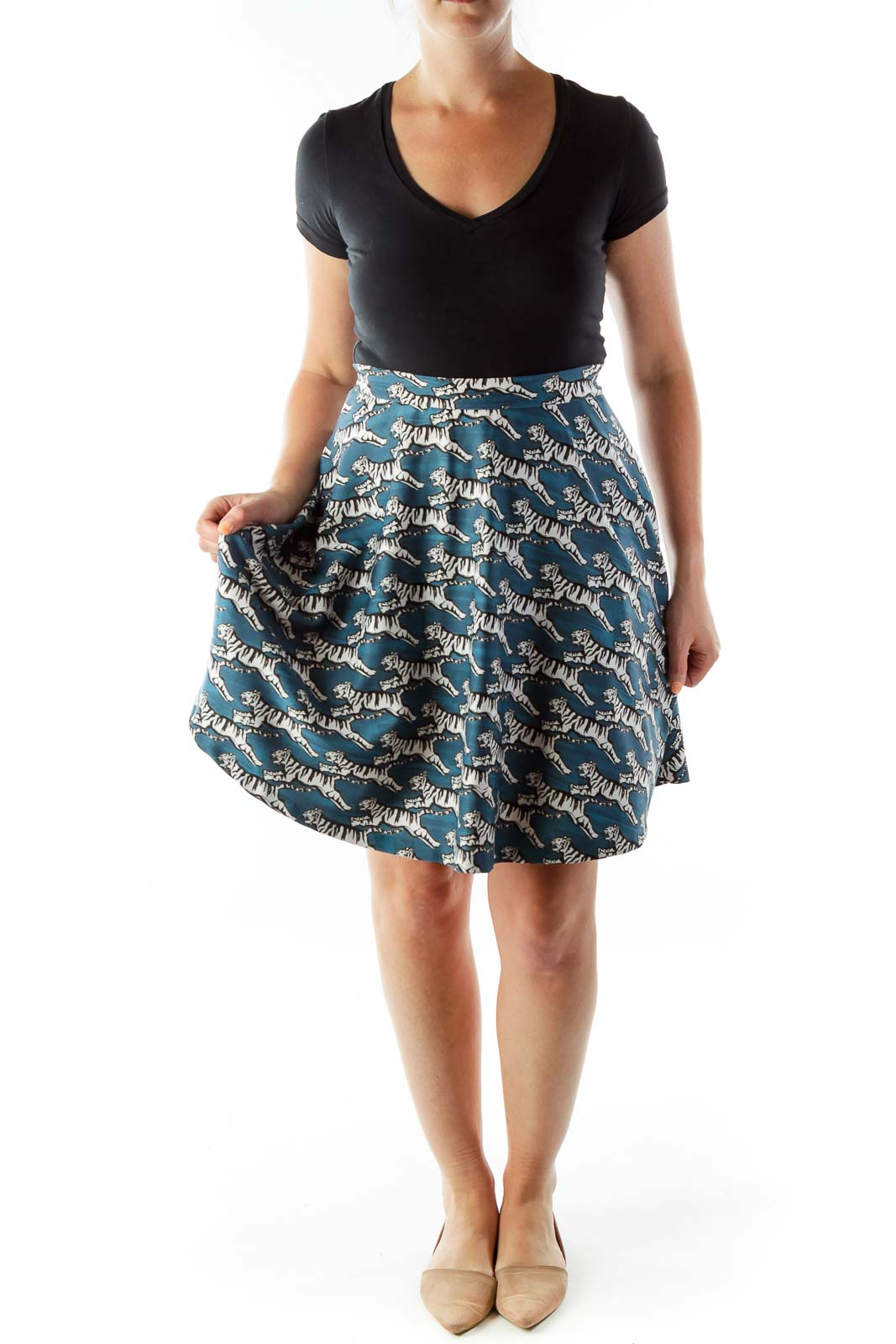 Blue Animal Print A-Line Skirt