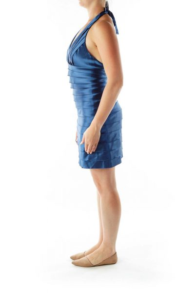 Blue Ruffled Satin Cocktail Dress