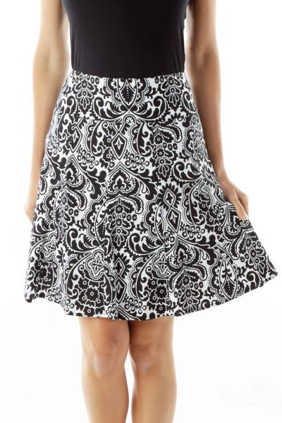 Black White Paisley Print Skirt