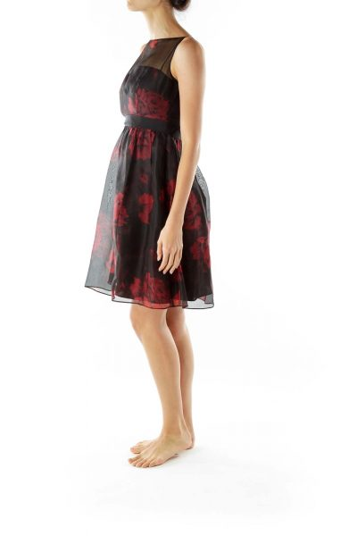 Black Red Flower Print Cocktail Dress