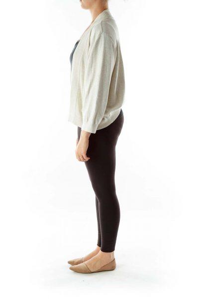 Gray Cream Knit Cardigan