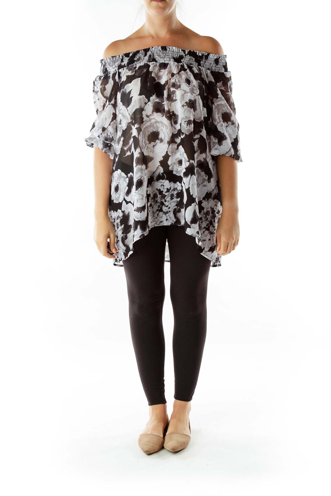 Black Gray Floral Off-Shoulder Top
