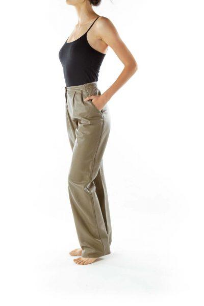 Brown Faux-Leather Vintage Pants