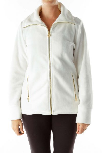 Cream Fleece Sports Jacket