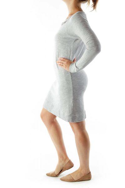 Gray Beaded Knit Dress