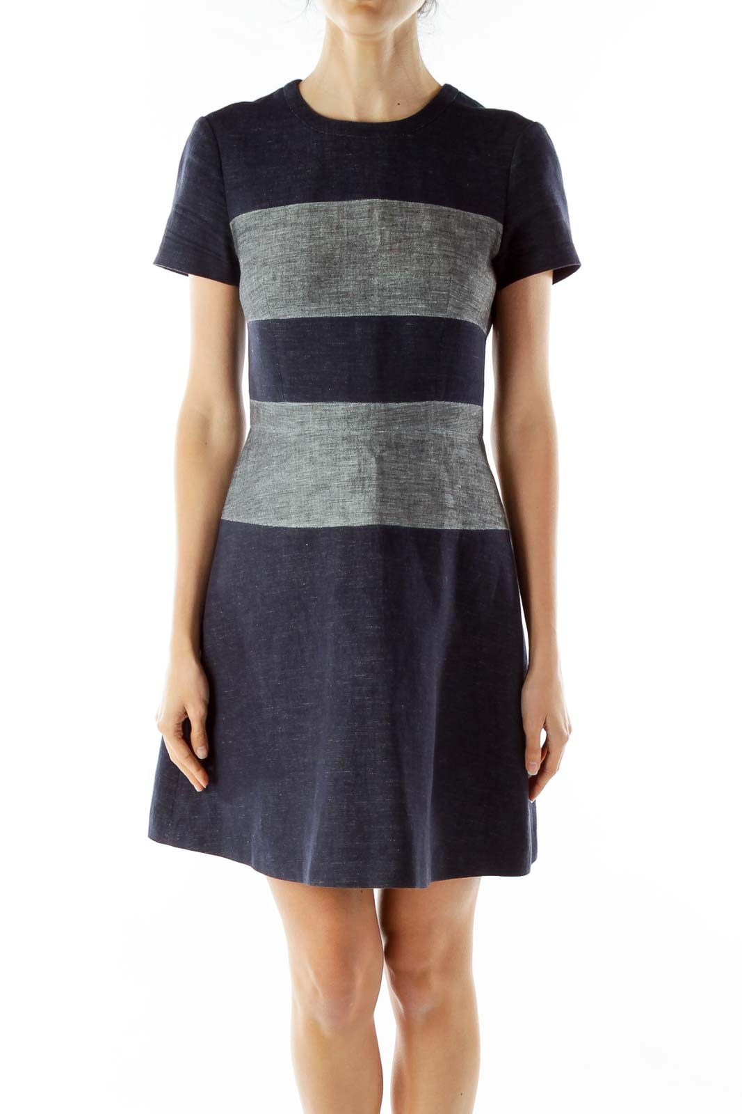 Blue Gray Striped Denim Dress