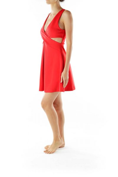 Red Cut-Out Cocktail Dress