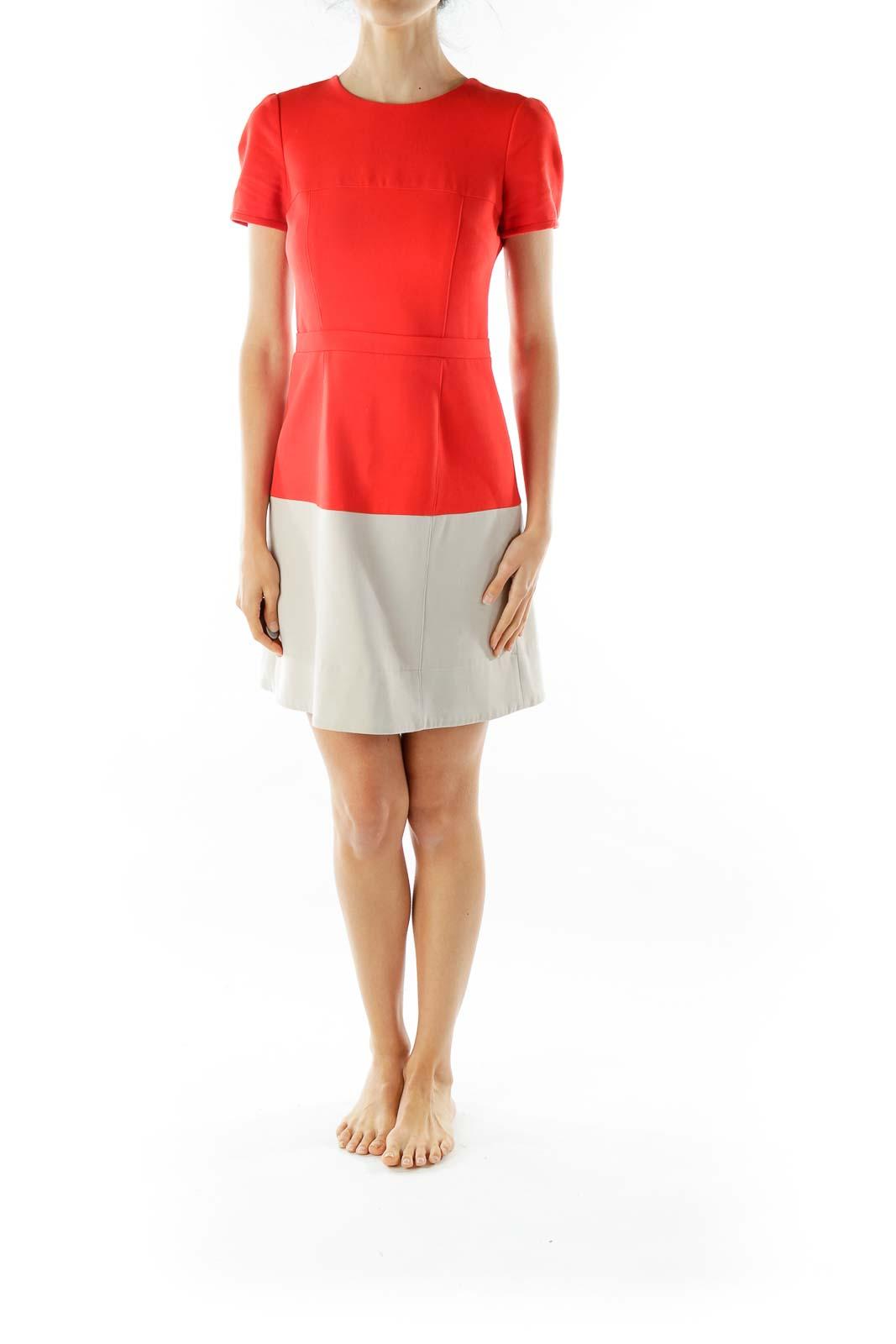 Orange Beige Shift Dress
