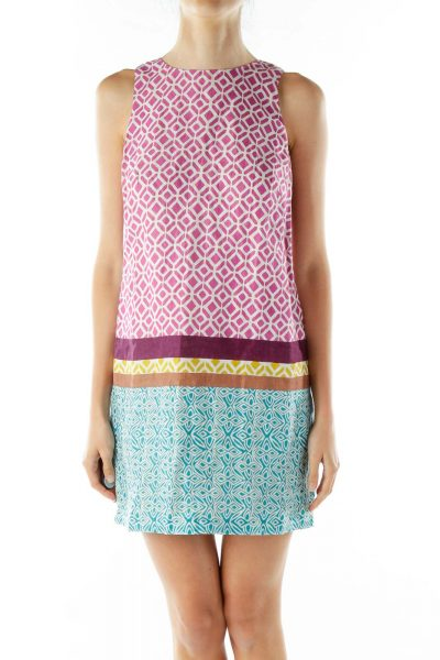 Purple Geometric Print Linen Dress