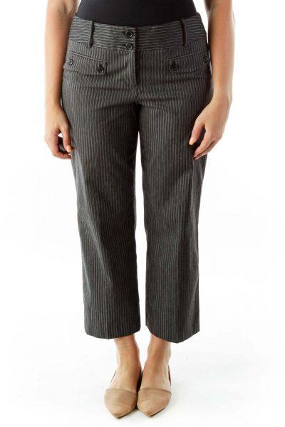 Black White Pin-Stripe Buttoned Slacks
