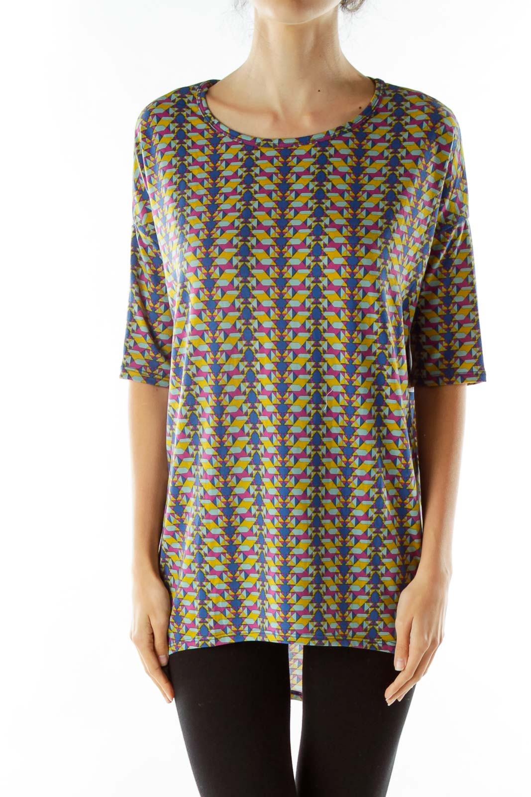 Blue Yellow Purple Geometric Print Dress