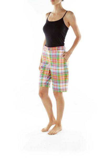 Multicolor Plaid Capri Shorts