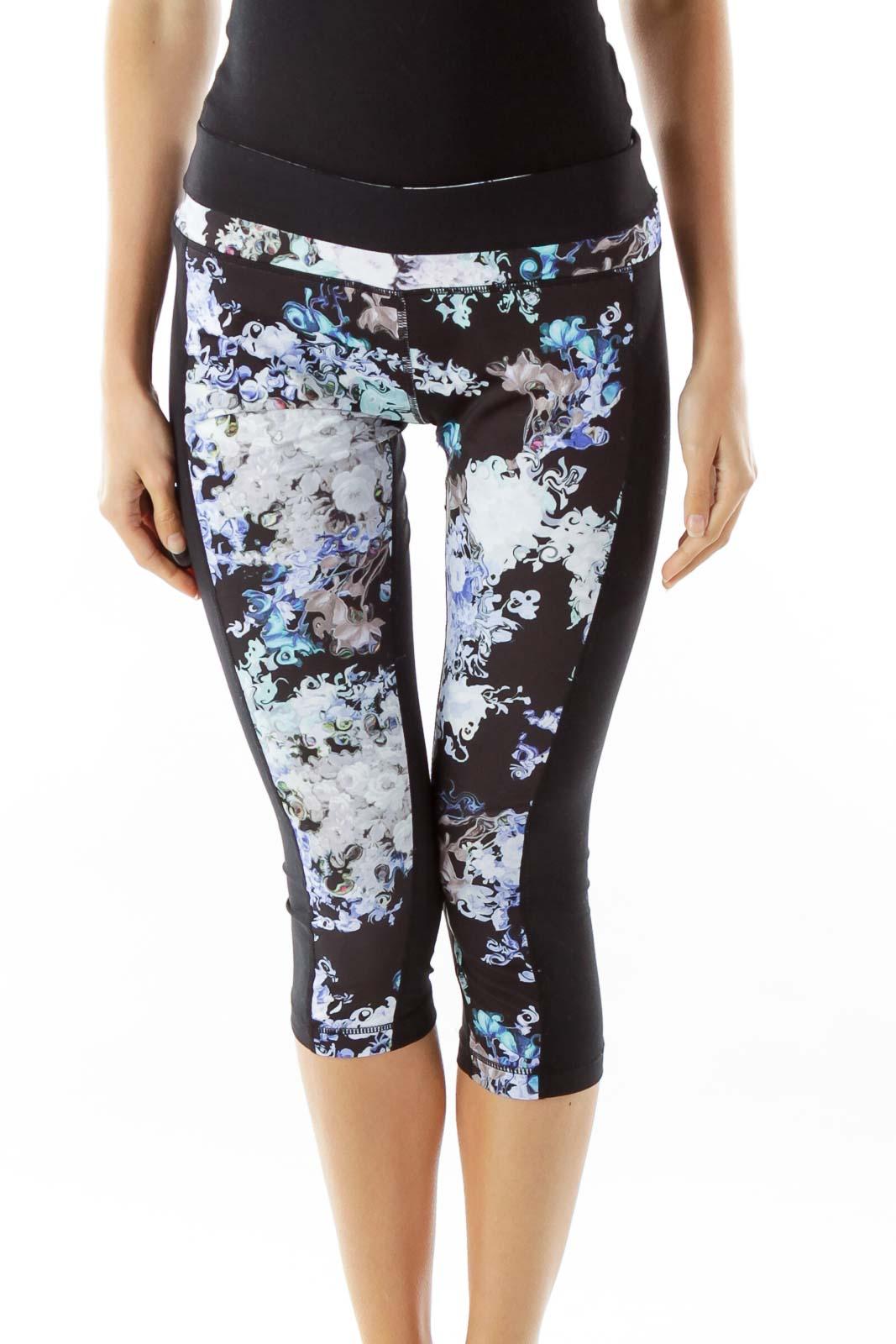 Black Purple Flower Print Yoga Pants