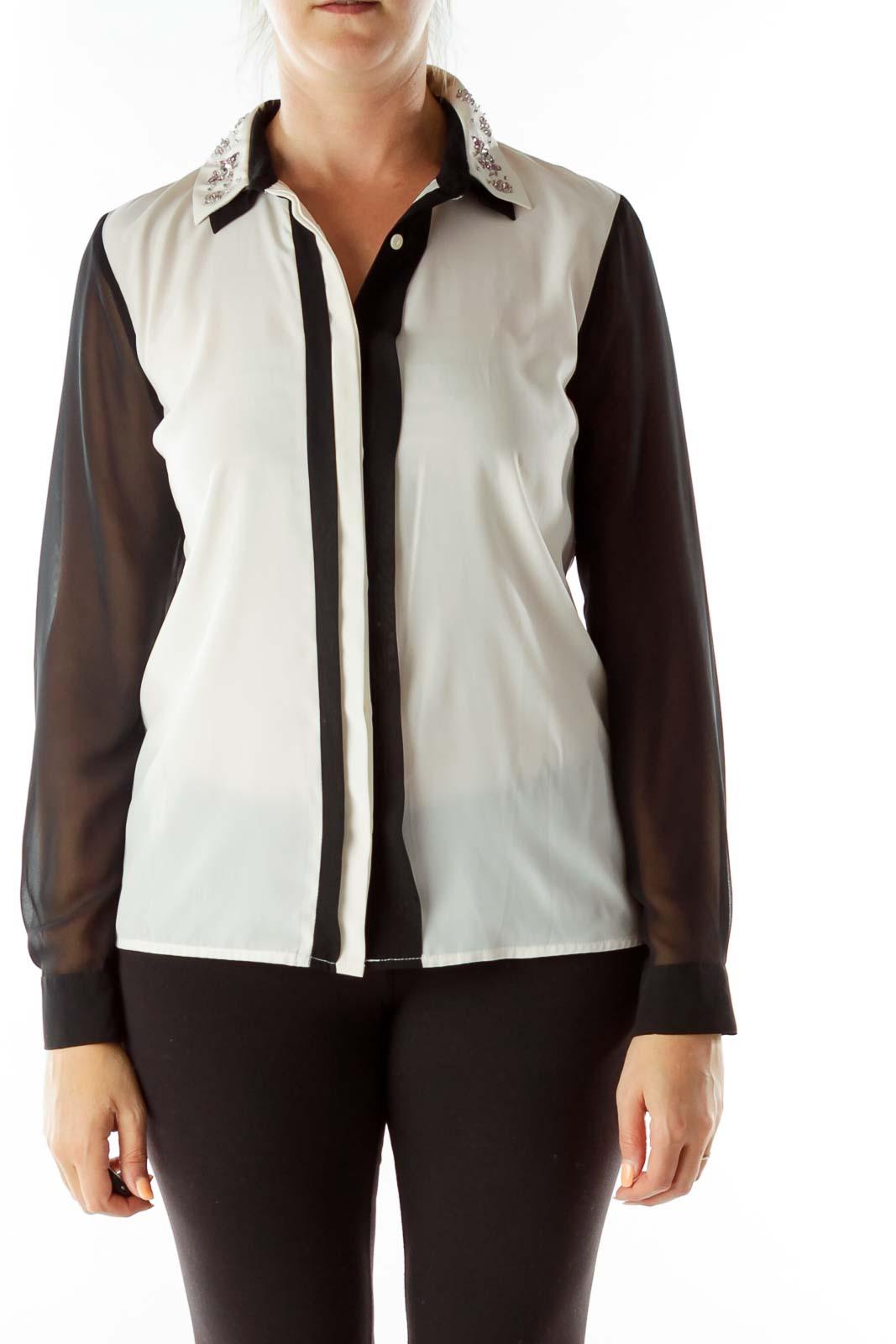 Cream Black Beaded Collar Sheer Shirt
