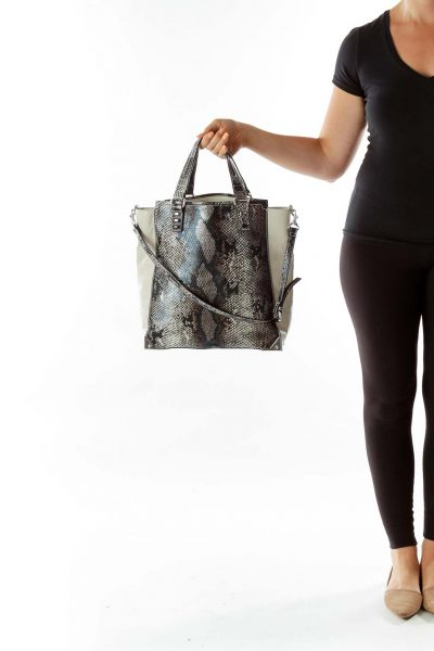 Gray Snake Tote Bag