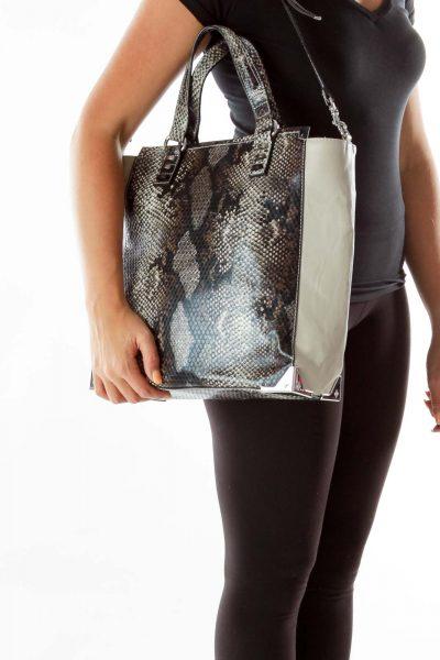 Gray Snake Tote Bag