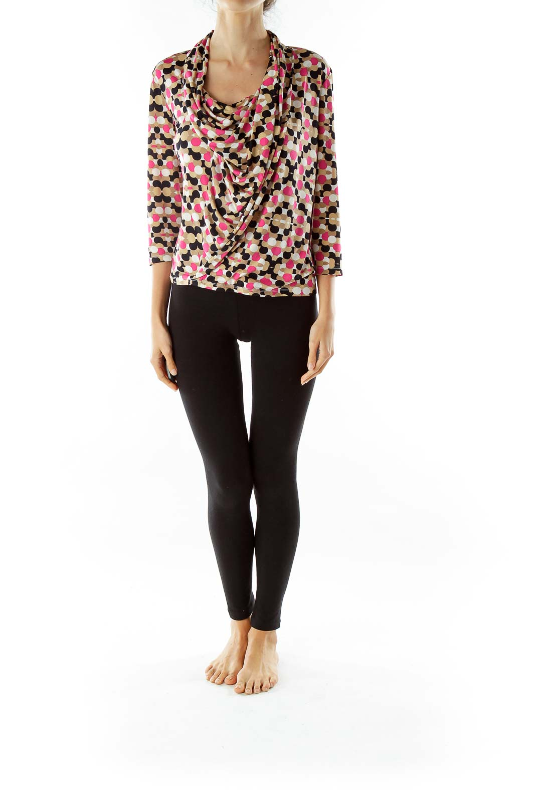 Pink Black Print Cowl Neck Top