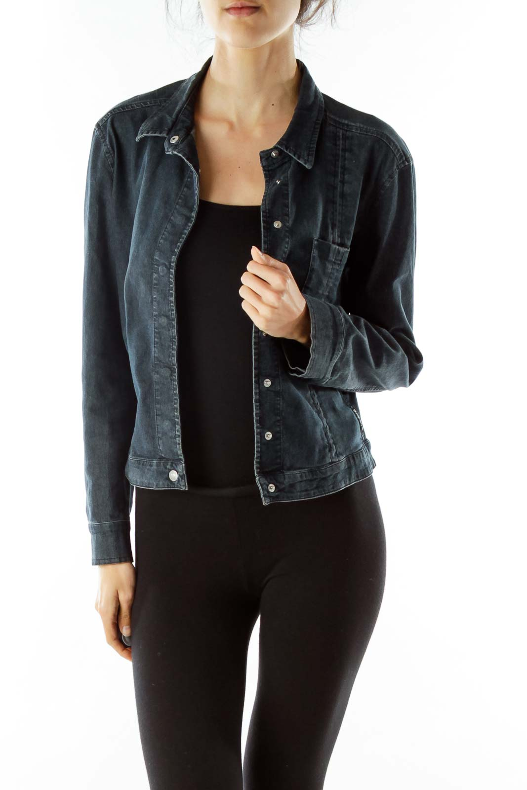 Navy Snap Buttoned Denim Jacket