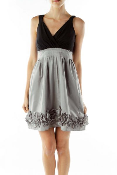 Black Gray Ruffled Cocktail Dress