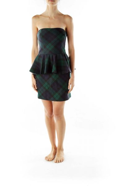 Green Plaid Peplum Cocktail Dress