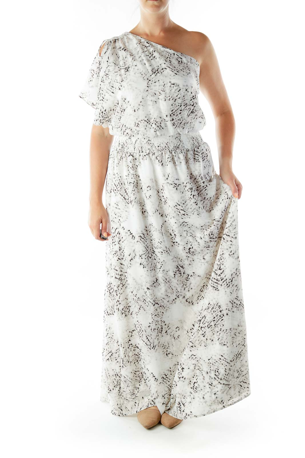 Gray White One Shoulder Maxi Dress