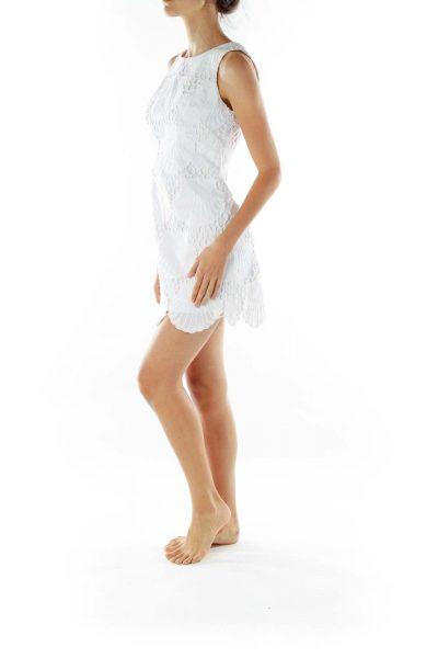 White A-line Shift Lace Dress