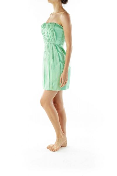 Green Pleated Strapless Cocktail Dress