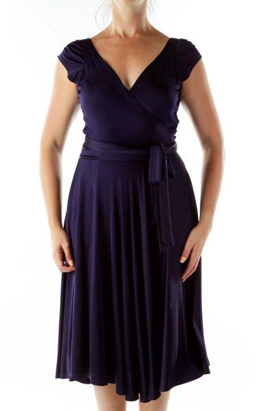 Purple Wrap Cocktail Dress