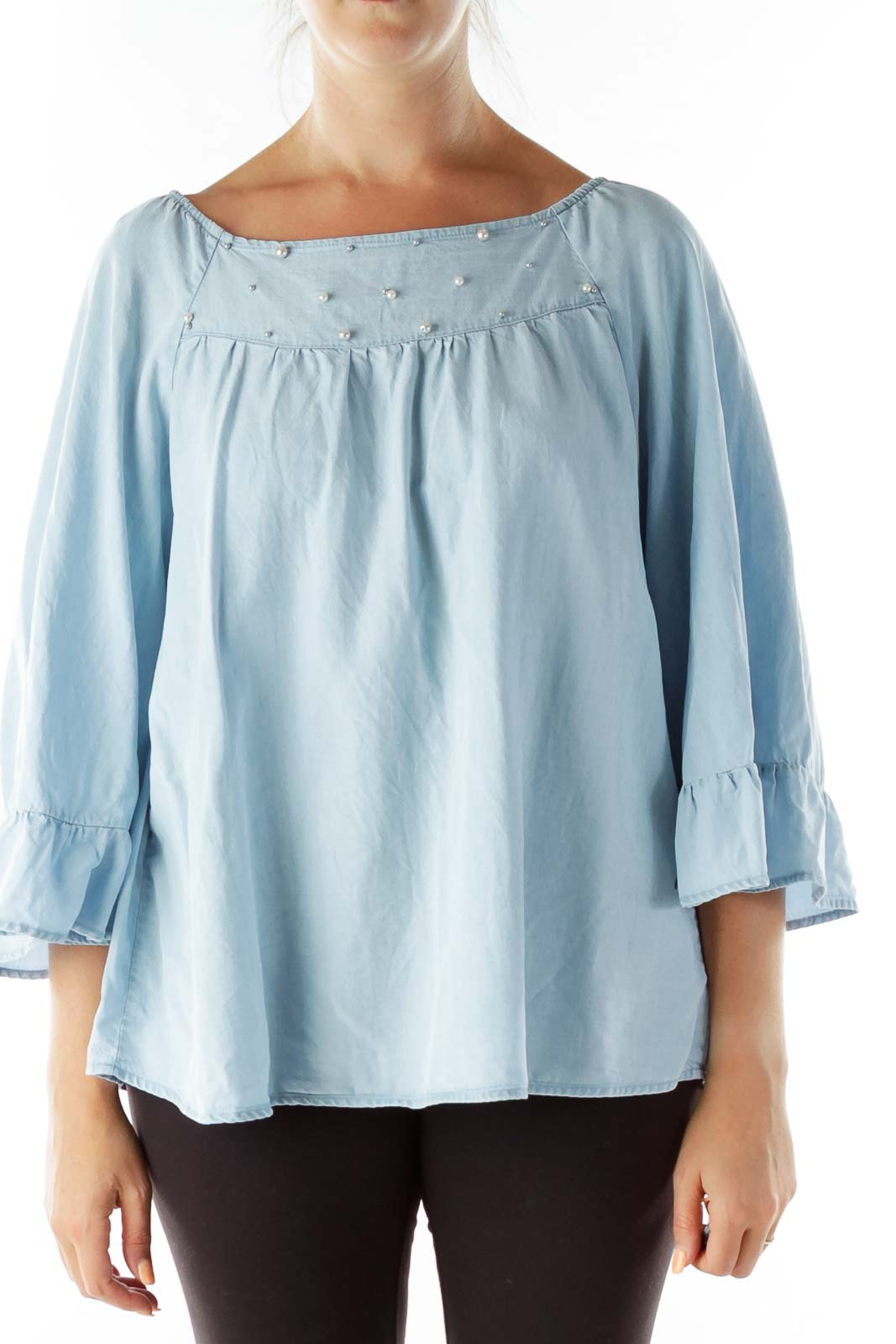 Blue Pearl Beaded Off-Shoulder Blouse