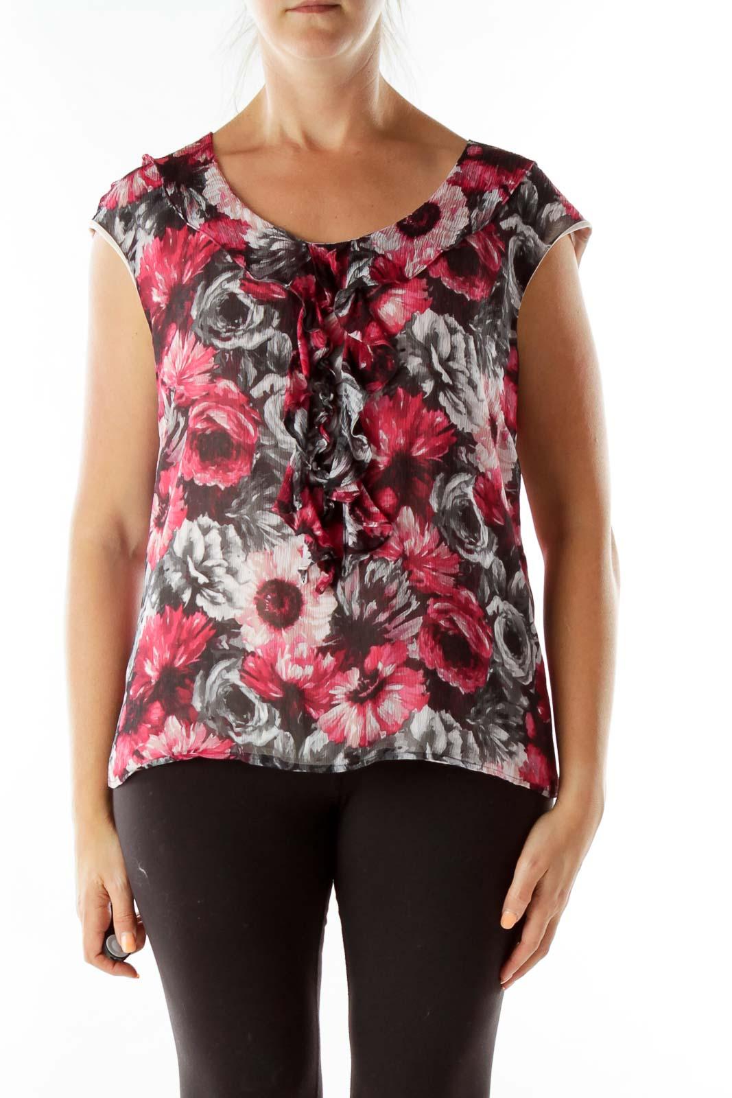 Pink Black Silk Print Blouse