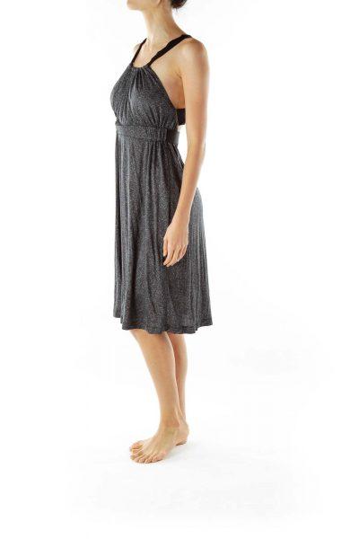Black White Print Silk Day Dress
