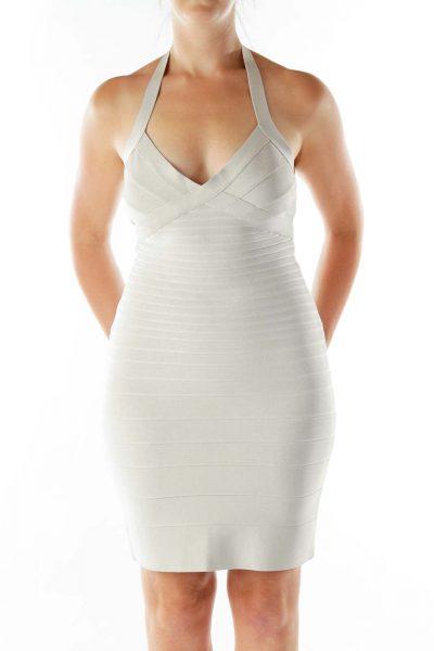 Beige Bandage Cocktail Dress