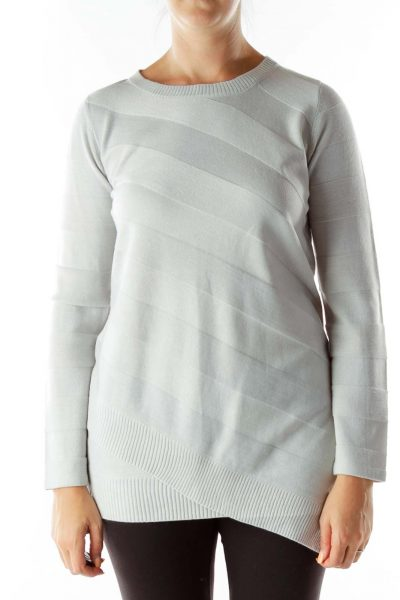 Blue Striped Round-Neck Sweater