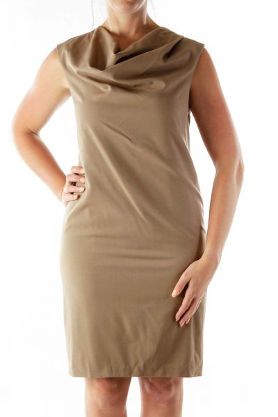 Brown Loose Shift Dress
