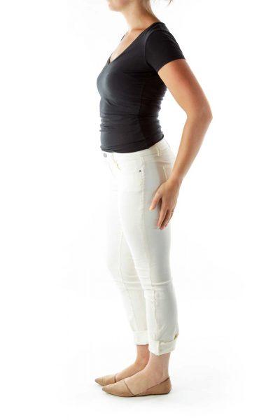 Cream Cropped Denim Pants