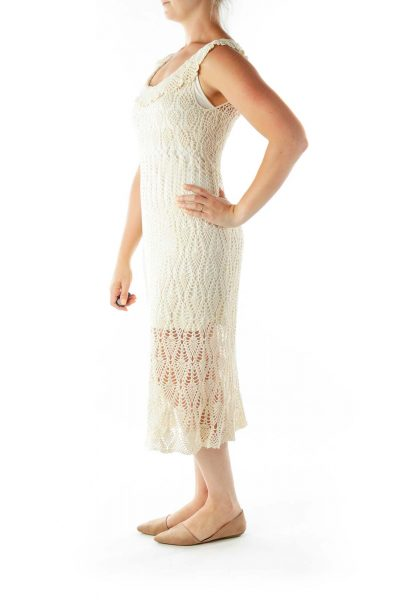 Cream Slip Crocheted Day Dress