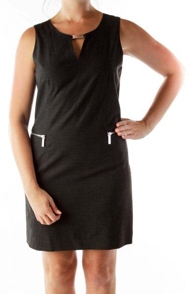 Black Zippered V-Neck Sleeveless Dress