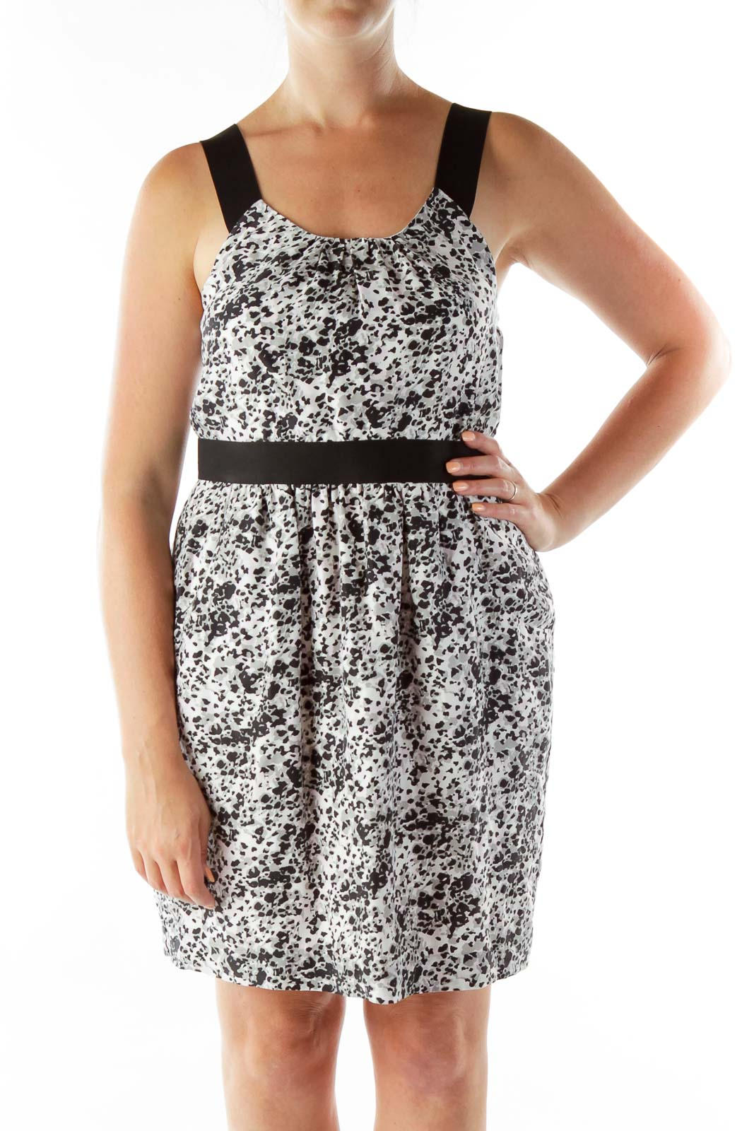 Black White Silk Print Dress