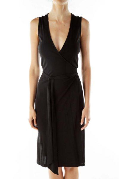 Black Wrap Work Dress