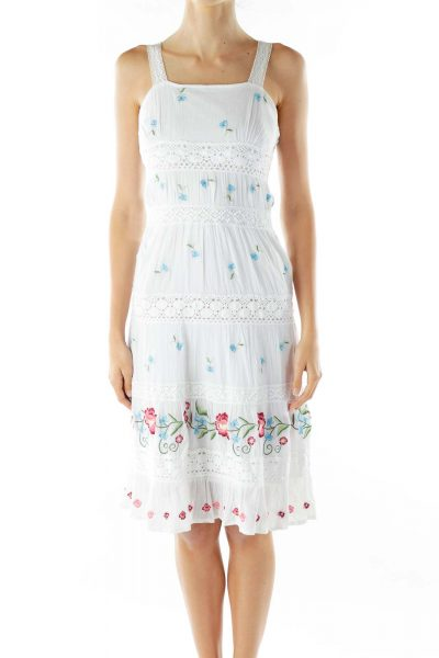 White Red Blue Embroidered Crocheted Dress