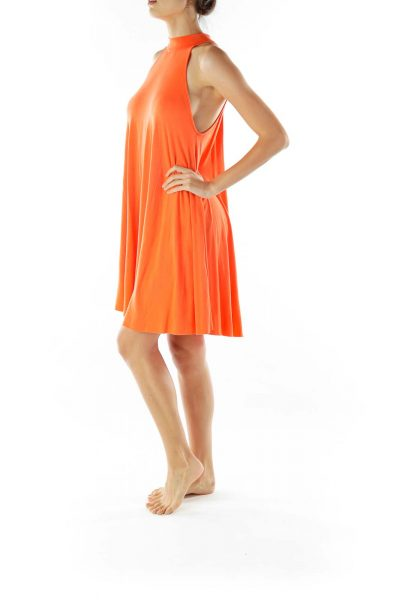 Orange Halter Shift Dress