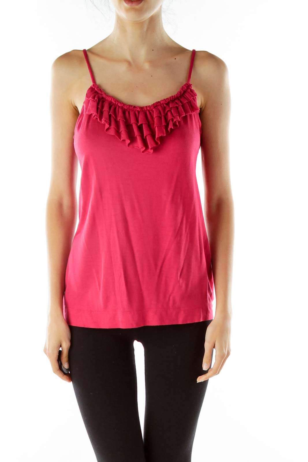 Pink Ruffled Tank Top