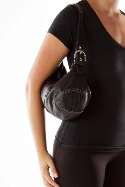 Black Stitched Leather Shoulder Bag