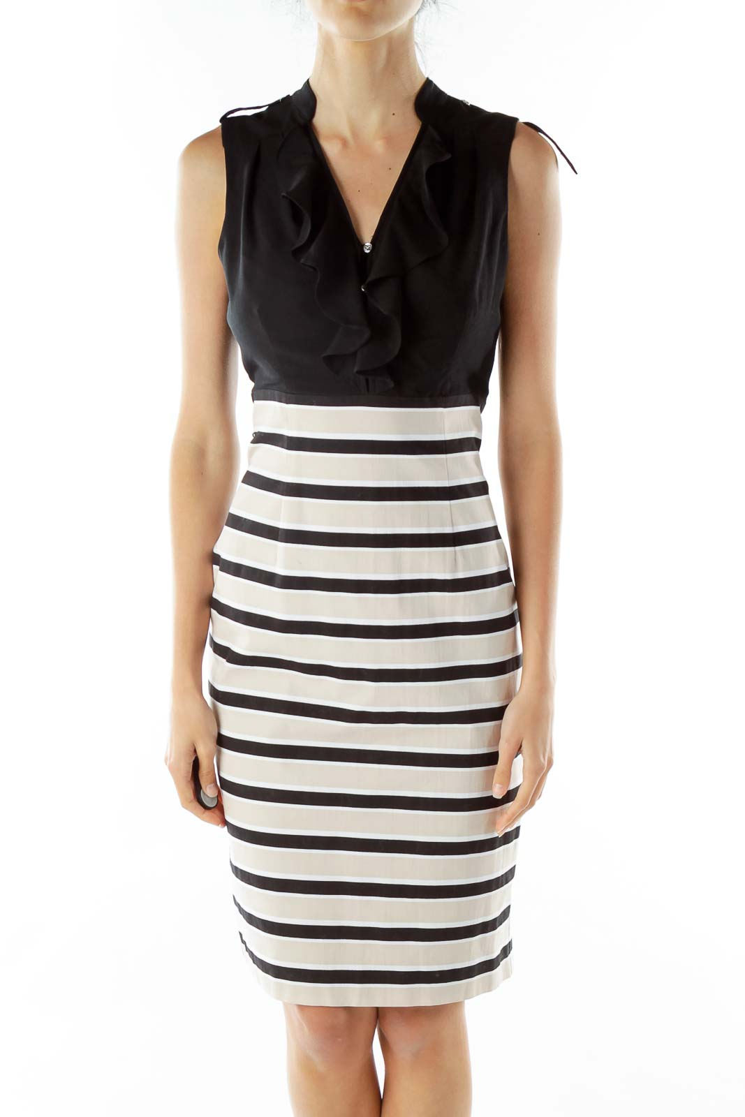 Black Beige Striped Work Dress