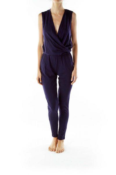 Navy Wrap Pocketed Jumpsuit